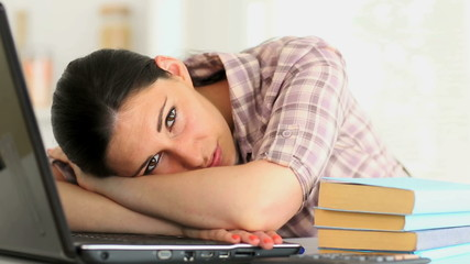 Woman taking study break and smiling