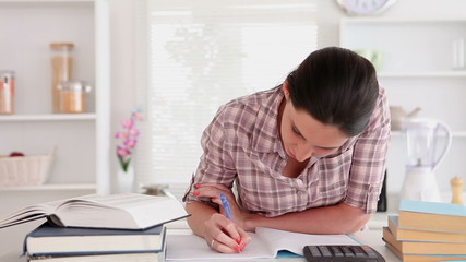Studying woman with books and calculator