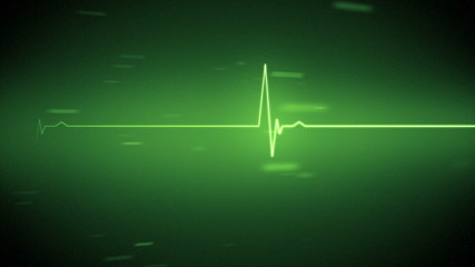Green heart monitor line with moving background