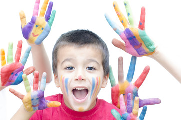Boy Shouting with Colorful Hands