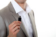 Businessman holding USB key
