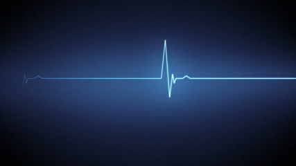 Blue heart monitor line with moving background