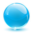3D crystal sphere blue