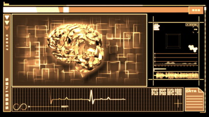 Medical digital interface showing brain