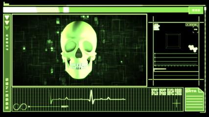 Medical digital interface showing skull