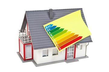 Haus mit Zettel und Energieeffizienzklassen