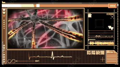 Medical digital interface showing neuron nervous system