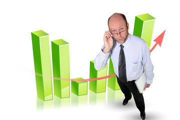 Bald businessman stood in front of chart