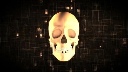 Revolving skull on moving digital background