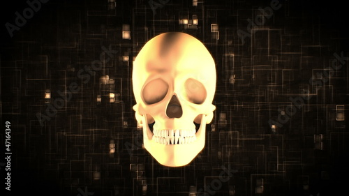 Revolving skull on moving digital background