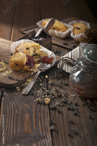 Broken cupcakes with chocolate drops