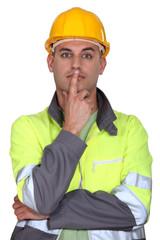 Pensive laborer