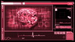 Digital interface featuring revolving pink brain