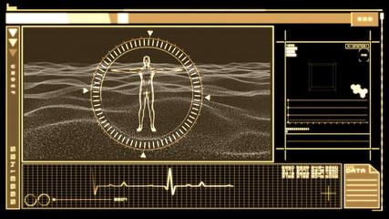 Digital interface displaying revolving human figure