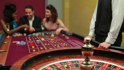Man placing bet for roulette