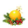 Goldene Weihnachtskugel mit Tannenzweige