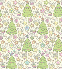 Funny seamless christmas color vector background