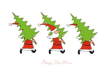 Weihnachtsmänner bringen Weihnachtsbäume