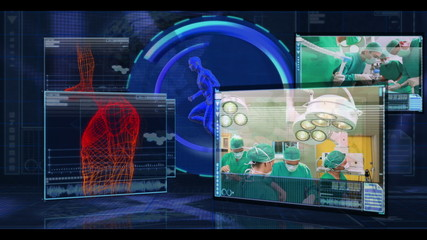 Digital medical interface showing various surgical clips