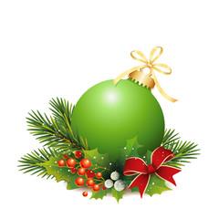 Grüne Weihnachtskugel mit Tannenzweige