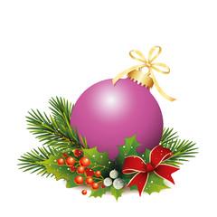 Lila Weihnachtskugel mit Tannenzweige