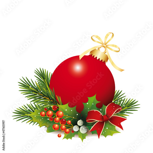 Rote Weihnachtskugel mit Tannenzweige