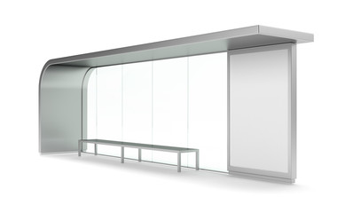 Modern bus stop with blank banner