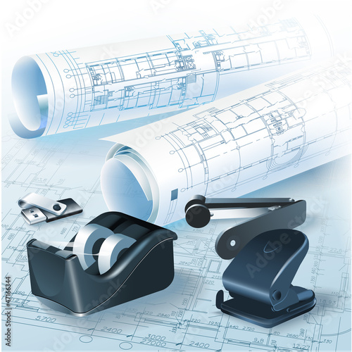 Architectural background with rolls of drawings for your busines