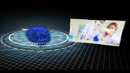 Montage of medical research clips moving around revolving brain