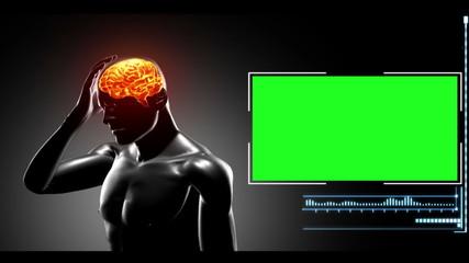 Computer-simulated human having headache
