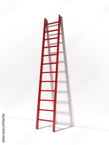 Keuken foto achterwand Trappen Red ladder near white wall