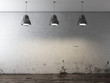 Room with ceiling lamps and grunge wall