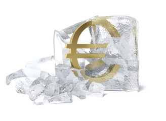 Golden Euro symbol frozen inside an ice cube