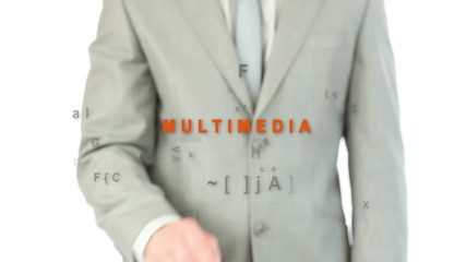 Finger pointing at word multimedia