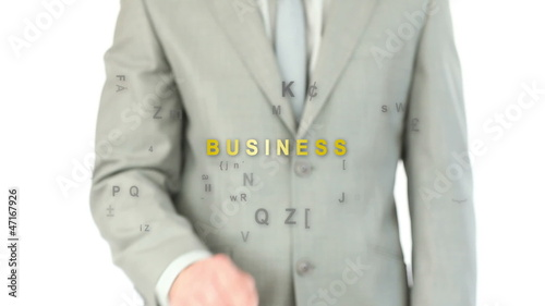 Man pressing holographic business button