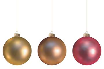Boules de Noël, gamme chaude, fixations dorées