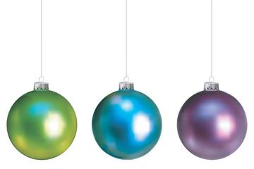 Boules de Noël, gamme froide, fixations argentées