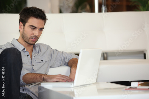 Man checking his emails