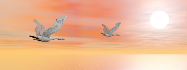 Swans migration - 3D render