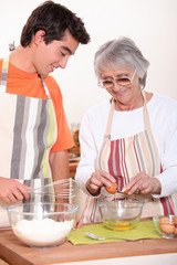 Grandmother and grandson in the kitchen