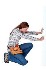 A female handyman.