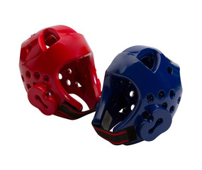 Red and blue taekwondo head guard isolated