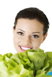 Attractive caucasian smiling woman with salat