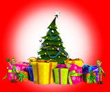 Mini Elves On Presents With Christmas Tree
