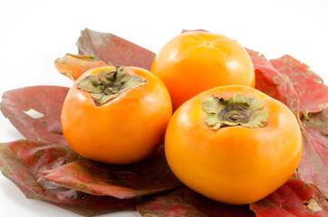 柿の葉の上の甘柿