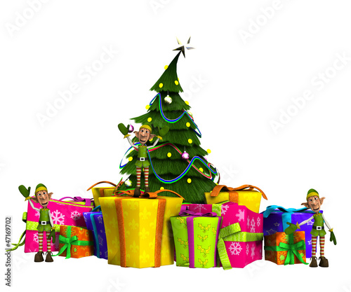 Mini Elves On Presents With Christmas Tree