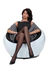 classy brunette wearing stockings