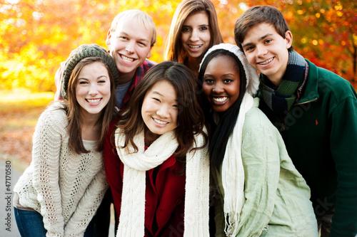 Leinwanddruck Bild Diverse group of friends together