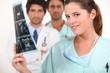 Nurse looking at ultrasound