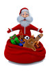 3d render of Santa Claus stands near a sack with gifts
